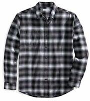 Essentials Men's Regular-Fit Long-Sleeve Plaid, Black, Size X-Small
