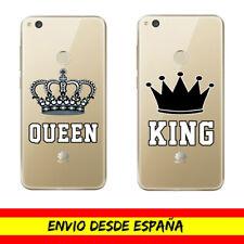 Funda Movil Case Huawei King Queen Corona Rey Reina Transparente Dibujo Carcasa