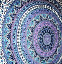 White Purple Mandala Tapestry Wall Hanging Hippie Single Bedspread Bed Cover