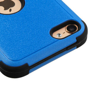 iPod Touch 5th 6th 7th Gen - BLUE Hard & Soft Rubber Hybrid Kickstand Armor Case
