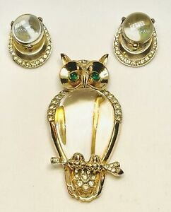 Important Trifari Alfred Philippe Sterling Pave Lucite Jelly Belly Owl Pin Set