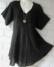 HIPPY GYPSY BOHO   EMBROIDERED BLACK TUNIC TOP  FREE SIZE 14 16 18  20