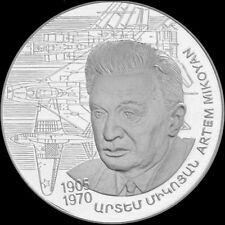 ARMENIA 1000 DRAM SILVER COIN PROOF 2005 Artem Mikoyan The Centenary Of Birth