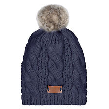 Aran Traditions Womans Men Winter Warm Knitted Style Navy Blue Bobble Beanie Hat