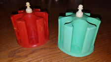 New ListingLot of Two Vintage Marbled Red Green Plastic Spool Holder Sewing Thread Caddy
