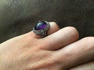 STERLING SOLID SILVER 925 AMETHYST UNUSUAL UNIQUE RING SIZE J NOT SCRAP 7 GRAMS