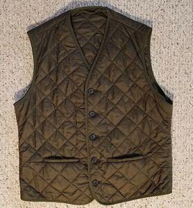 Barbour Tailored Waistcoat D1234 Quilted Vest Khaki Green/Brown adult men sz L