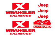 RED Jeep decals wrangler unlimited 4x4 sticker offroad includes 6 stickers kit