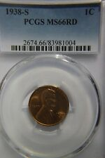 1938-S Lincoln wheat penny PCGS MS 66 RD Red nice high grade coin #004