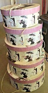 NESTING HAT BOXES with Rope Handles Set of 5 PARIS AVENUE DESIGN VG