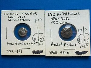 AR Drachm Lycia and Caria Lot of 2 Ancient Coins - Authentic - *K012
