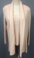 ST JOHN 2 Pc Pink Beaded Rib Knit Cashmere Shell Cardigan Twinset Sz M GG5335