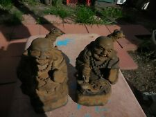BACK PACK HOTEI LAUGHING BUDDHA GRAY CONCRETE CEMENT STATUE ANTIQUED