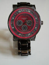 Mens black/Red hematite finish metal bracelet TECHNO KING heavy stone watch
