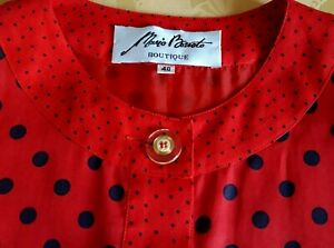 Vestito rosso a pois blu MARIO BORSATO Boutique TG 40