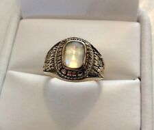 Good Vintage Solid 10K Gold American College Ring With Mystic Topaz Type Stone