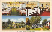 Georgia Ga Postcard Linen VALDOSTA Pines Camp Cottages Trailer Court Roadside