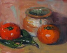 Original Art Oil Painting Tomatoes Peppers Still Life Framed Realism 8x10