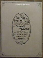 Publicité POUDRE DE PERLES FINES , perle chypre BARDIN   1921, advert