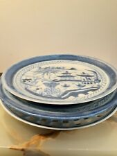 Set of (3) Antique Chinese Blue and White Landscape Porcelain Plates 18th C Qing