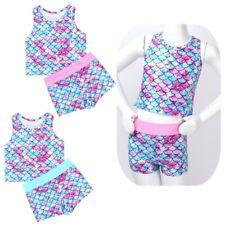 Girls Swimsuit Kids Swimwear Mermaid Tops + Bottoms Tankini Bathing Suit Costume