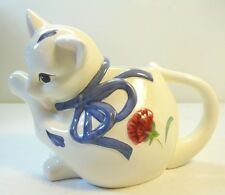 Lenox China Cat Figure Creamer Pitcher Poppies on Blue In Box