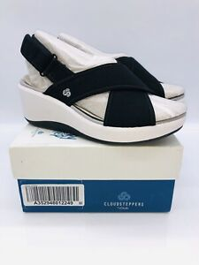 CLOUDSTEPPERS by Clarks Women's Step Cali Cove Cross Strap Wedges Black US 8W