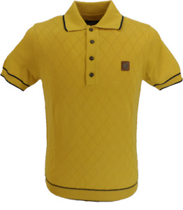 Trojan Records Mens Mustard/Navy Diamond Fine Gauge Knitted Polo Shirt