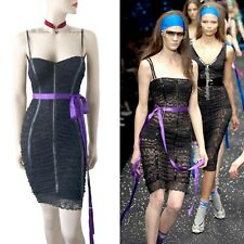 BNWT DOLCE & GABBANA D&G vintage 2007 black purple lace DRESS size UK 8 US 4 40