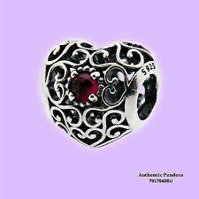 PANDORA Signature Heart Openwork July Birthstone Charm Birthday Gift 791784sru