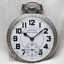"Hamilton 992B ""RAILWAY SPECIAL"" 21 Jewel WindUp Pocket Watch OF 16s Silver Color"