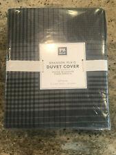 Pottery Barn Teen Branson Full/Queen Plaid Duvet Cover Black NEW