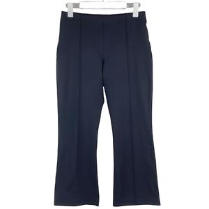 Zella Studio Mid Rise Crop Kick Flare Black Leggings Zip Pocket EUC Size Medium