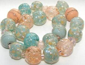 "Sistersbeads ""C-Lotus Leaf"" Handmade Lampwork Beads"