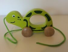 Hape Turtle Wooden Pull Along Push Toy Toddler Baby