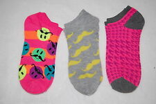 Womens Ankle Socks THREE PAIR LOT Fits 4-10 Shoe Size SMILEY MOUSTACHE Orange