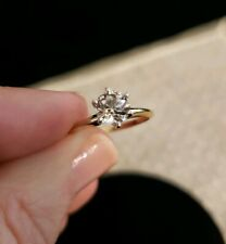 14K Yellow & White Gold WHITE SAPPHIRE Solitaire 6mm Round Ring, Tiffany Setting