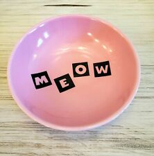 Wisker City brand MEOW Cat Kitty Food Bowl Hot Pink And Black EUC