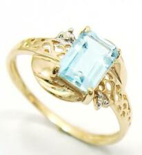 SYJEWELLERY 9CT SOLID YELLOW GOLD NATURAL BLUE TOPAZ & DIAMOND RING SIZE N R992