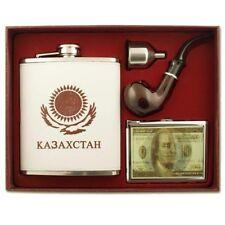 XXL Flachmann Set Kazachstan 500ml Fülltrichter Pfeife Taschenflasche Kasachstan