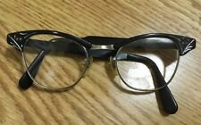 "Vintage 1/10 12K Us Optical Aluminum 5 1/2"" Horn Rim Cat Eyeglasses Frames 44â–«20"