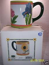 Flower Mug 20 oz Iris, Hydrangea, Sunflower by Sally E Roberts Floral Arrangemnt