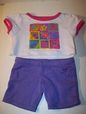 Build A Bear Clothing~White Shirt With Colorful Tic Tac Toe~Lavender Leggins~F2
