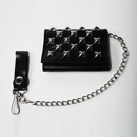 New Wave 80s Gothic Goth Punk Glam Rock Metal Studded Black Leather Chain Wallet