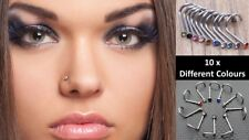 Pack of 10  Different Colour Surgical  Steel Nose Screw Spiral Crystal Piercing