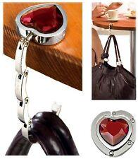 Herz Handtaschenhalter Taschenhalter Handtaschen Butler mit farbigem Glas-Stein