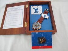 Rare Disney 1997 Mickey Mouse A Decade of Dreams 10th Yr Watch Pin COA  Wood Box