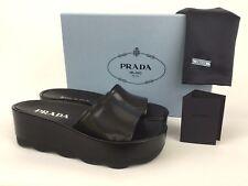 PRADA Platform Black Leather Slide Sandal Mule 38 / 8