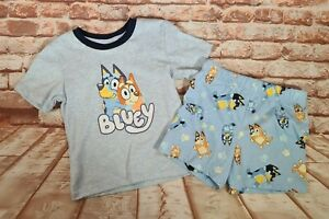 BNWT Boys Girls Sz 2 Bluey Print Grey Stretch Summer PJ Pyjama Set
