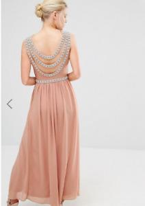 TFNC Petite Wedding Embellished Back Detail Maxi Dress Taupe UK 10 RRP: £80.00